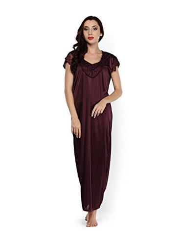 Klamotten Womens Satin Nightwear ,Brown ,Free Size