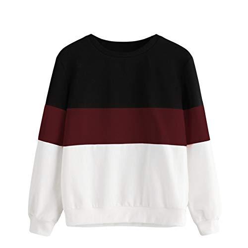 Damen Sweatshirt,Juliyues Frauen Langarm Color Block Sweatshirts Pullover Rundhals Jumper Casual Tops Bluse