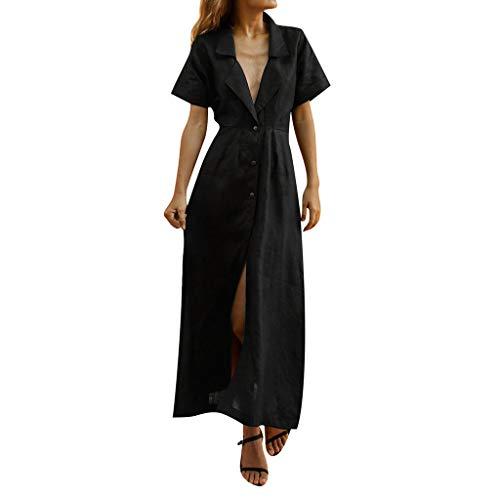 Damen Strandkleid Lange Kleid,Luotuo Frauen Sommer Solide Mode Baumwolle Casual Lose Maxikleid Sexy Tiefer V-Ausschnitt Umlegekragen Kurzarm Temperament Faul Hemdkleid Blusekleid