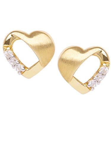 MyGold Herz Ohrstecker Stecker Ohrringe Gelbgold 750 Gold (8 Karat) Zirkonia Mini 6mm x 7mm Herzchen Herzform Goldohrringe Sweet Valentine O-06657-G503-CZC-whi