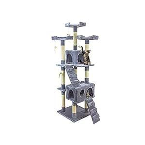 Tiragraffi da 170Cm con Cuccia per Gatti Albero Parco giochi gioco tira graffi per Gatto [Grigio] - Wintem