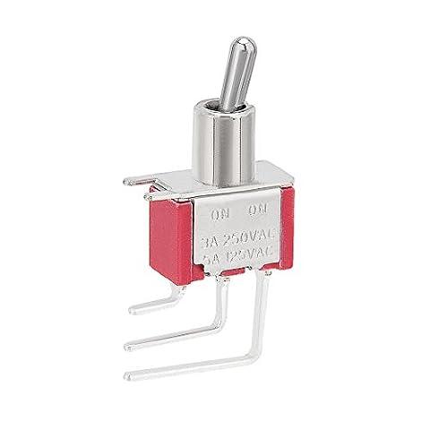 sourcingmap® T8019L AC 250V 3A ON/ON 2 position Angle droit 3 bornes interrupteur à bascule SPDT