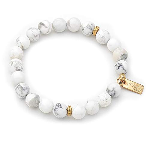 STYLE4-NATURE® Premium Handgefertigter Yogaschmuck Meditations- Armband aus weissem Naturstein Boho Vintage Geschenk für Frauen