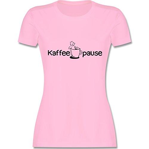 Küche - Kaffeepause - tailliertes Premium T-Shirt mit Rundhalsausschnitt für Damen Rosa