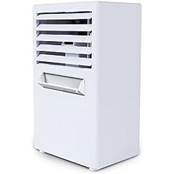 SANDM Mini Refroidisseur D'air, Climatiseur Mobile Humidification Ventilateur climatiseur Ventilateur de Bureau Ventilateur Silencieux étudiant Dortoir-Blanc