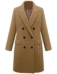 Manteau en Laine à Manches Longues Double Boutonnage pour Femmes Vestes Trench Coat Hiver Chaud Jacket Long Parka Overcoat