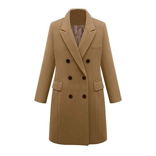 BASACA Mantel Damen Coat Winter Revers Outdoor Parka Tops Mode Jacke Frauen Zweireihiger Outwear Trenchcoat Langarm Warmen Wollmantel Overcoat XL-5XL (XL, Khaki) (Old School Monster Kostüm)