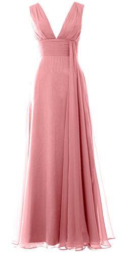 MACloth Women Deep V Neck Long Bridesmaid Dress Chiffon Simple Prom Gown Blush Pink