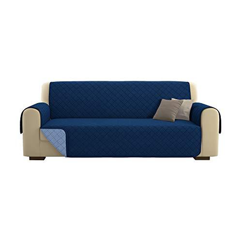Kasa shop outlet copridivano/salvadivano deluxe imbottito, reversibile doubleface copertura divano (blu, divano 4 posti)