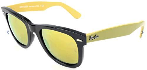 RAYBAN Unisex-Erwachsene Sonnenbrille Wayfarer, Schwarz (Black/Lightbrownmirrorgold), 50 mm