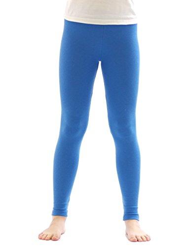 yeset Kinder Mädchen Thermo Leggings Fleece Hose lang Leggins aus Baumwolle blau 116
