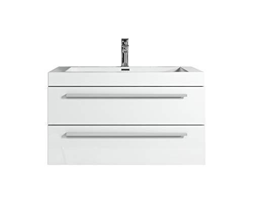 Badezimmer Badmöbel Rome 80 cm Hochglanz weiß - Unterschrank Schrank Waschbecken Waschtisch