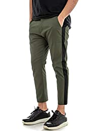 Giosal Pantalone Uomo Slim Tinta Unita Verde Riga Laterale Nera Tasca  America 7ef666f683fb