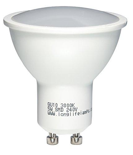 LongLifeLampCompany 5W-LED-Leuchtmittel, Ersatz für GU10 Halogenlampen, Warmweiß, metall, warmweiß, GU10, 50 wattsW 240 voltsV