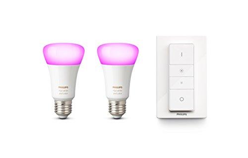Philips Hue White and Color Ambiance - Pack de 2 bombillas LED E27, 6.5 W, mando incluido, iluminación inteligente, cambian de color (Compatible con Amazon Alexa, Apple HomeKit y Google Assistant)
