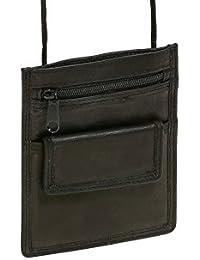 Pochette de sécurité pochette tour de cou pochette à porter LEAS en cuir véritable, noir - ''LEAS Travel-Line''