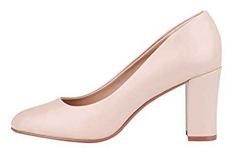 Verocara Women's Genuine Leather Chunky Heel Round Toe Pump Shoes Apricot Leather 7 UK