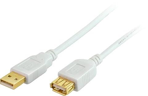 USB Verlängerung Kabel, A/A , HIGH SPEED, vergoldete Kontakte, USB 2.0, weiß 1.8m