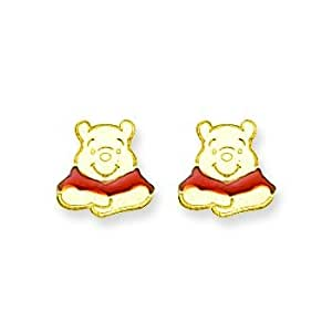 Boucles d'oreilles or 14 carats Disney Winnie l'Ourson