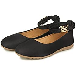 Do Bhai Stylish Belly Kishmish Black Flats For Women (Euro40, Black)
