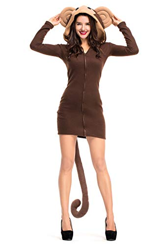 RedJade Cozy Monkey Mantel Zip-up Hoodie mit Kapuze Damen Kostüm Affe Affenkostüm Warm Straßenkarneval Cosplay Braun (Sexy Kostüm Affe)