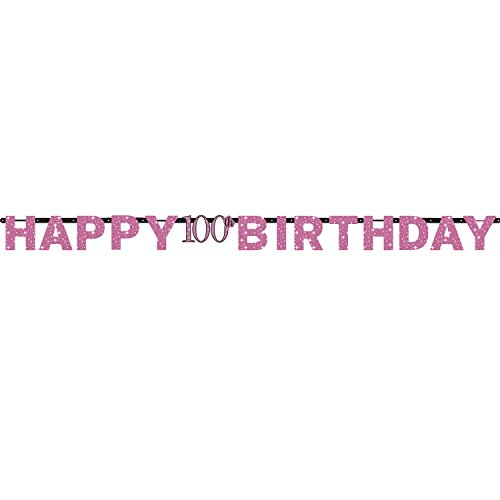 Amscan International-99017662,13M x 17cm rosa celebración 100th cumpleaños prismáticas carta Banner