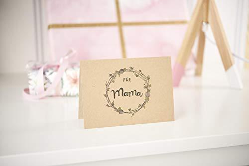 Kraftpapier Kartenset | 50 Doppelkarten mit 50 Umschlägen | Format A6 - 5