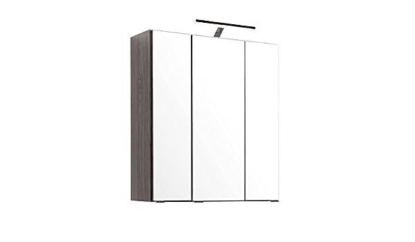 Spiegelschrank, Badezimmerschrank, Badschrank, Badspiegel, Hängeschrank,  Badezimmerspiegel, 3 Türig, Inkl. LED Beleuchtung, Eiche Dunkel NB:  Amazon.de: ...