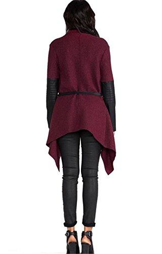 Aeneontrue Manteau Longues Manche Femmes Irregular Stripe Cardigan ChâLe Kimono Tops Cover Up Blouse Bourgogne