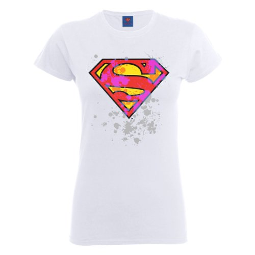 DC Comics - T-shirt collo tondo, Donna Bianco (White)