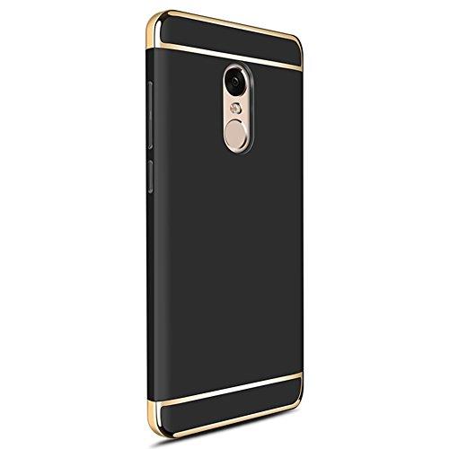 Xiaomi Redmi Note 4X Hülle, MSVII® 3-in-1 Design PC Hülle Schutzhülle Case Und Displayschutzfolie für Xiaomi Redmi Note 4X (Nicht mit Redmi Note 4 kompatibel) - Rose Gold JY50056 Schwarz