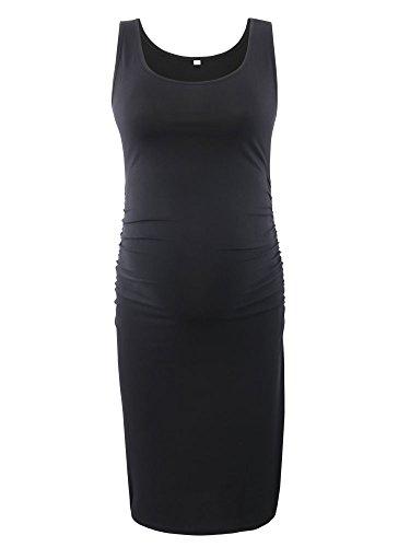 Love2Mi Frauen Umstandsmode Ärmellose Kleider umstandskleid Mama Scoop Neck Baby Shower Schwangerschaft Kleid, L, Schwarz