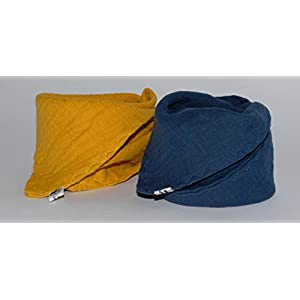 2 Musselin Dreieckstücher/Halstuch/Spucktuch Musselin für Baby oder Kleinkind/senf blau
