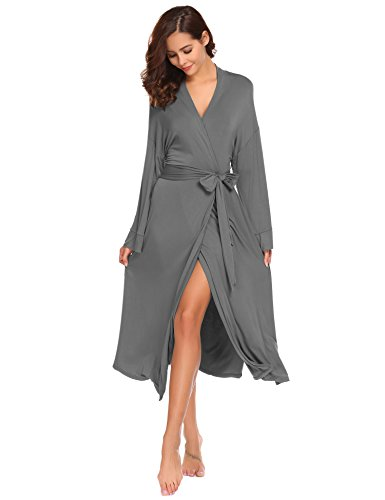 Avidlove Damen Langarm Modal Morgenmantel Long Badementel Schlafanzug V-Ausschnitt Nachtwäsche Nachthemd Mit Gürtel Hausmantel Größe XL Grau