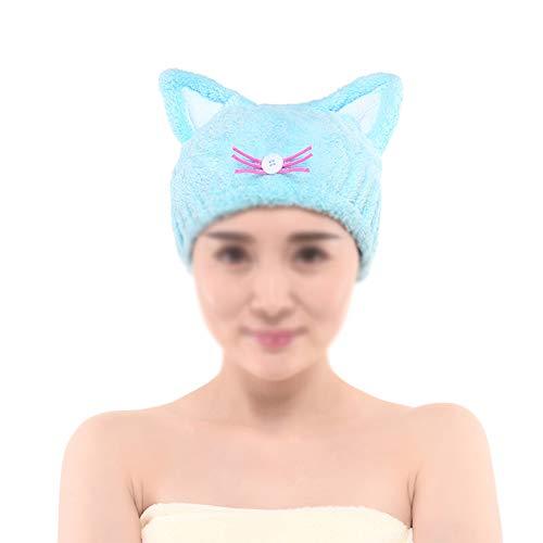 lxfy Haartrockner Handtücher, Plus Dicke süße Badetuch Wrap, Ultra weiche saugfähige Haare trocken Hut Kappe, schnell trocknende Badekappe für Frauen Erwachsene Blue (Katze Im Hut-gesicht Make-up)