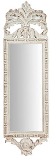 Espejo de pared de madera acabado blanco antiguo Made in Italy L19x PR3X H65cm