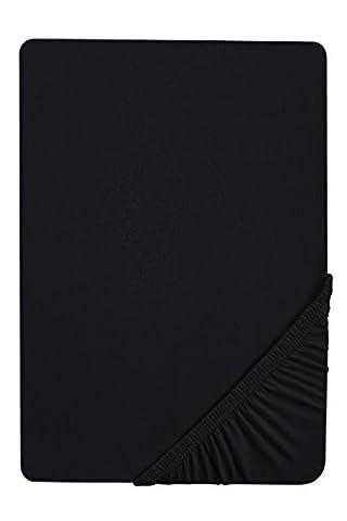 Biberna 2744/080/087 Drap housse en flanelle de coton pour un lit Noir 180 x 200 cm à 200 x 200 cm