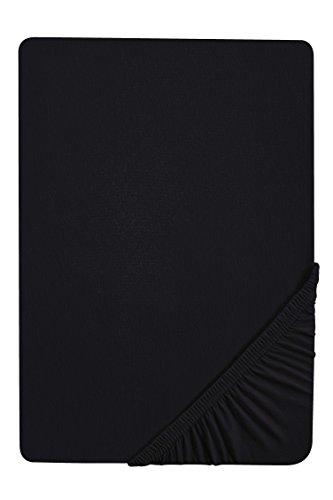 Castell 77113 Jersey-Stretch Spannbetttuch, nach Öko-Tex Standard 100, ca. 140 x 200 cm bis 160 x 200 cm, schwarz