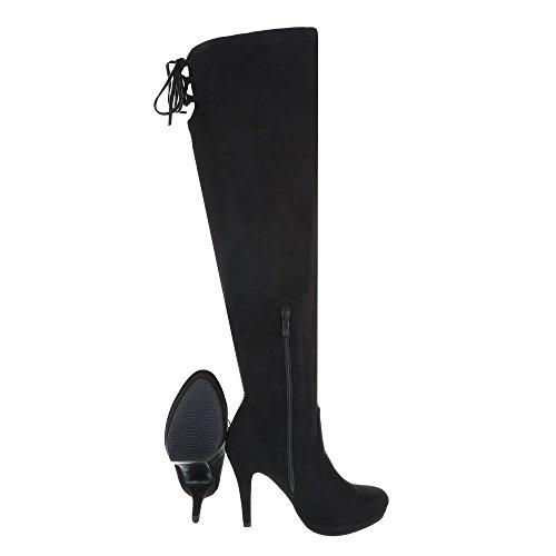 Overknees Damenschuhe Overknees Pfennig-/Stilettoabsatz High Heels Reißverschluss Ital-Design Stiefel Schwarz