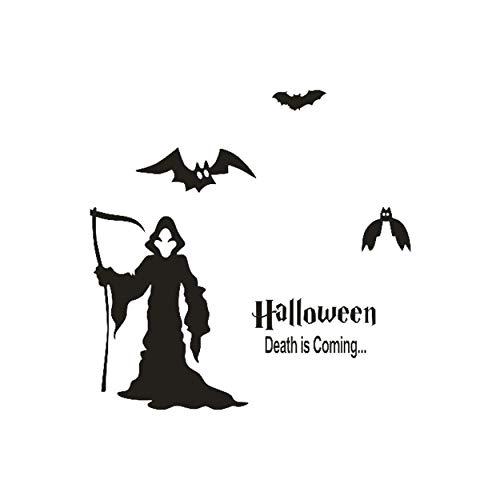 Wall Decal Happy Vinyl Halloween Witch Bats Wall Sticker Window Home Decoration Decal Decor 60X60Cm