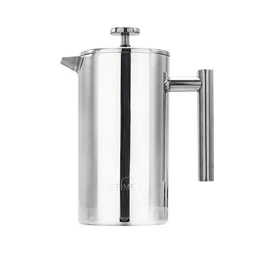 ETiME Kaffeebereiter Kaffeekanne Teebereiter Pressfilterkanne Edelstahl thermoisoliert groß 1 L Silber