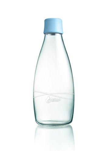 Retap ApS 0,8L botella de agua de vidrio de borosilicato, azul celes