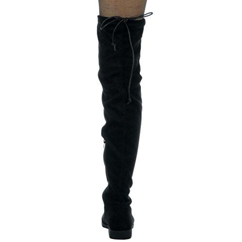 Angkorly - Scarpe Moda Stivali Alti stivali alti flessibile donna merletto Tacco a blocco alto 3.5 CM Nero