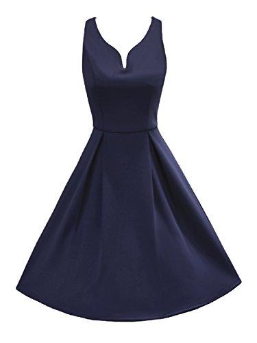 iLover 1950 Classique Vintage Rockabilly Sexy V Neck soir prom parti balancer robes MINI Dbleu