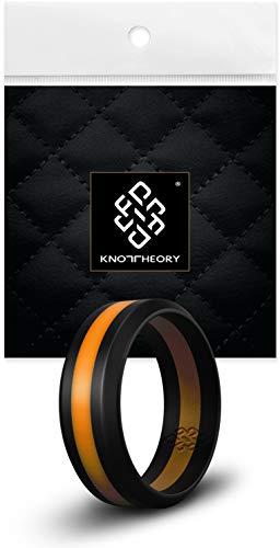 Knot Theory Abschrägung schwarz mit orangefarbenen Streifen Silikon Ehering - Größe 10 (8 mm breitere Bandbreite) - 8mm Ehering