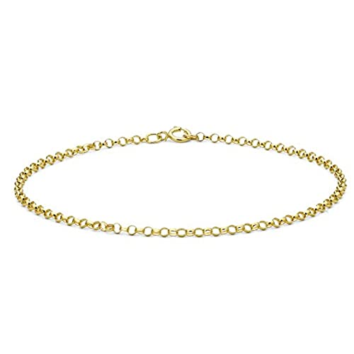 Carissima Gold Women's 9 ct Gold Hollow Round Belcher Chain Bracelet of Length 18 cm/7 Inch oTH46D