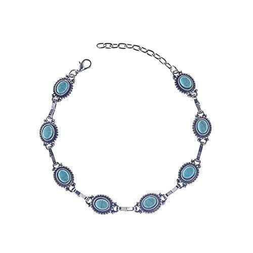 Bishilin 1 Pcs Fußkette Silber Damen mit Türkis Knöchelkette Ketten Barfuß für Damen -