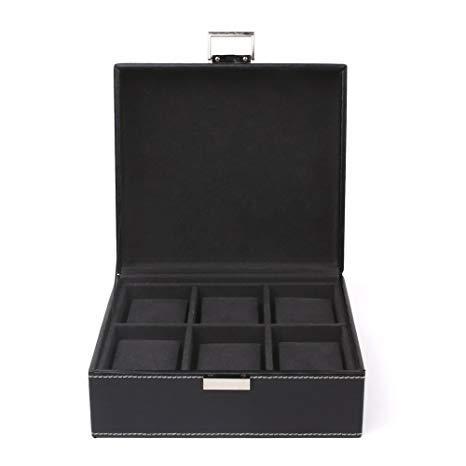 Uhrenbox für 6 Uhren Uhrenkasten Innen Schwarz Samt -