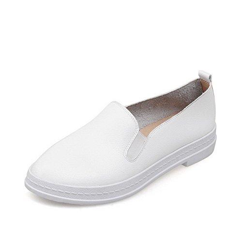 AllhqFashion Femme à Talon Bas Couleur Unie Tire Fermeture D'Orteil Rond Chaussures Légeres Blanc