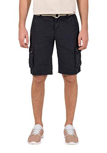 Timezone loose maguiretz cargo shorts incl. belt pantaloncini, blu (washed dark navy 3570), w36 uomo